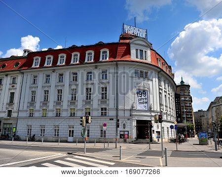 VIENNA AUSTRIA - JUNE 6: Facade of Academic theater in Vienna on June 6 2016. Vienna is the capital and largest city of Austria.