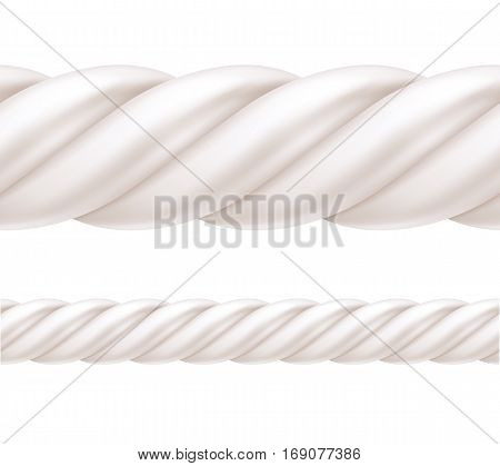 Twisted white marshmallow border. Seamless horizontal sweets pattern. Vector illustration.