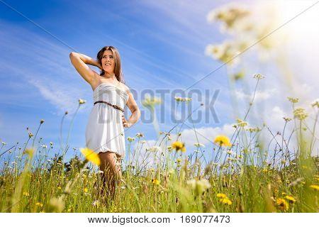 Beautiful girl in field of flowers