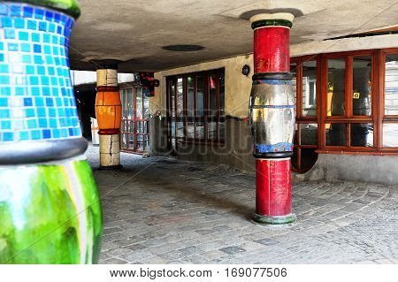 VIENNA AUSTRIA - JUNE 6: Details of Hundertwasser house in Vienna on June 6 2016. Vienna is the capital and largest city of Austria.