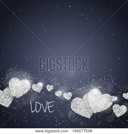 Vector Happy Valentine's Day greeting card with sparkling glitter silver textured hearts on blue background. Seasonal holidays background. Love Symbols in heart shape