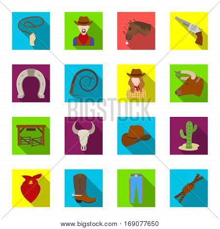 Rodeo set icons in flat design. Big collection of rodeo vector symbol stock illustration
