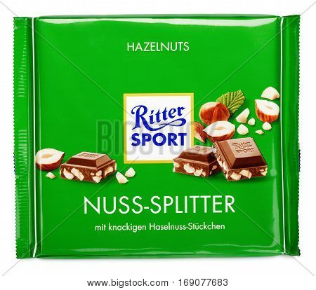 Green Ritter Sport Milk Chocolate Bar Isolated On White