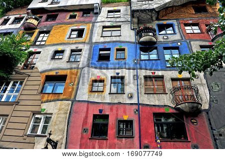 VIENNA AUSTRIA - JUNE 6: Hundertwasser house in city centre of Vienna on June 6 2016. Vienna is the capital and largest city of Austria.