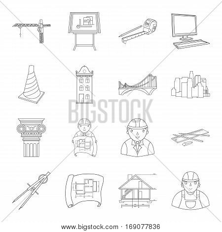 Architect set icons in outline design. Big collection of architect vector symbol stock illustration