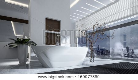 Contemporary white boat-shaped bath tub in a modern stylish bathroom interior with glass wall view window overlooking a city in monochrome decor, 3d rendering