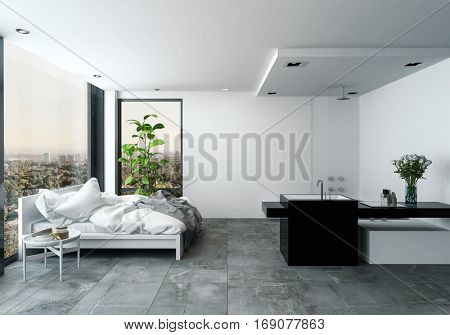 Spacious modern studio bedroom with wash facilities in a clean monochrome grey with unmade double bed in front of view windows, 3d rendering