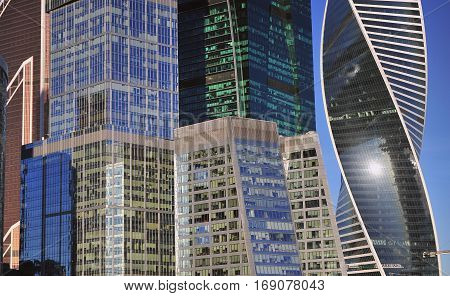 MOSCOW RUSSIA - FEBRUARY 2: Skyscrapers of Moscow city on February 2 2017. Moscow is the capital and largest city of Russia.