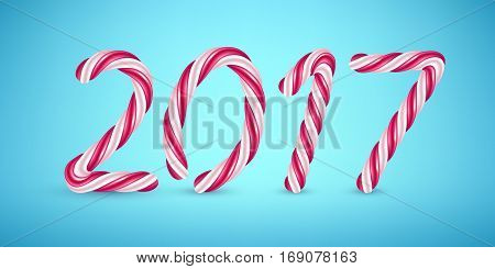 2017 candy cane new year illustration. Hard candy number design.
