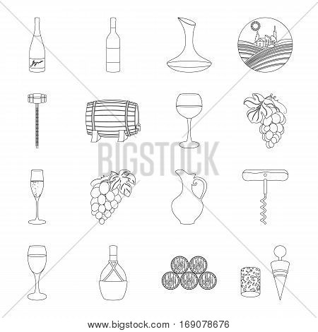 Wine production set icons in outline design. Big collection of wine production vector symbol stock illustration