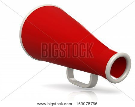 Isolated Red Megaphone On White