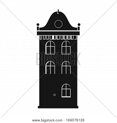 Building icon in monochrome design isolated on white background. Architect symbol stock vector illustration.