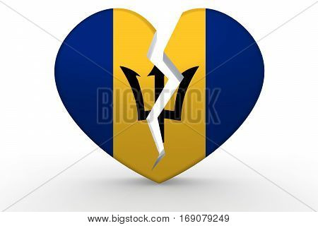 Broken White Heart Shape With Barbados Flag
