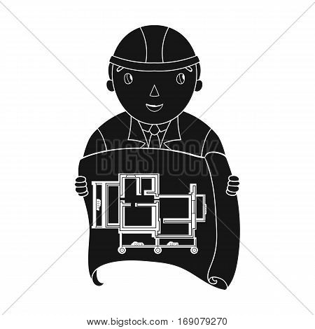 Architect with technical drawing icon in monochrome design isolated on white background. Architect symbol stock vector illustration.