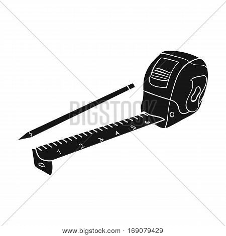 Tape measure and pencil icon in monochrome design isolated on white background. Architect symbol stock vector illustration.