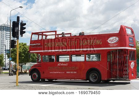 Christchurch, New Zealand, 20 jan: London Transport red double decker bus on a tour in Christchurch on 20 Jan 2017. A restored red tourist bus in the street of Christchurch, New Zealand.