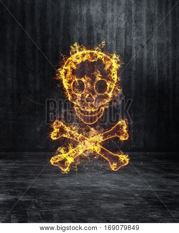 Eerie blazing skull and crossbones on a textured dark grey background engulfed in fiery orange flames with copy space