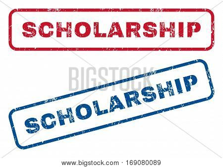Scholarship text rubber seal stamp watermarks. Vector style is blue and red ink caption inside rounded rectangular shape. Grunge design and dirty texture. Blue and red signs.
