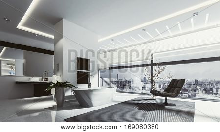 Large spacious bathroom with tub and chair surrounded by track lighting and wide windows. 3D rendering