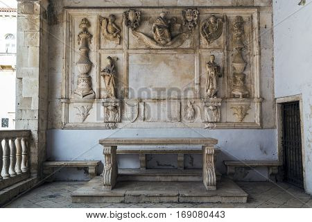 TROGIR CROATIA - SEPTEMBER 11 2016: It is a medieval bas-relief in the loggia, which is a landmark of the old town.