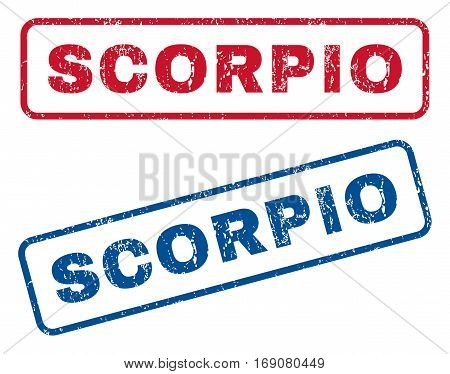 Scorpio text rubber seal stamp watermarks. Vector style is blue and red ink tag inside rounded rectangular shape. Grunge design and scratched texture. Blue and red emblems.