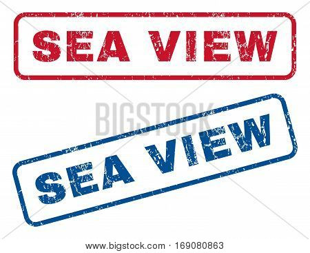 Sea View text rubber seal stamp watermarks. Vector style is blue and red ink caption inside rounded rectangular banner. Grunge design and scratched texture. Blue and red signs.
