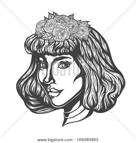 Portrait of woman in three-quarter view. Gothic style. Tattoo blackwork illustration