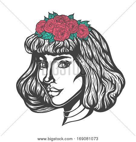 Portrait of woman in three-quarter view. Gothic style. Tattoo blackwork illustration