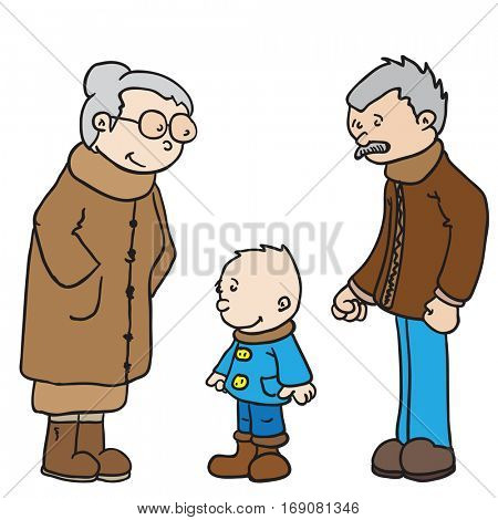grandparents and kid cartoon