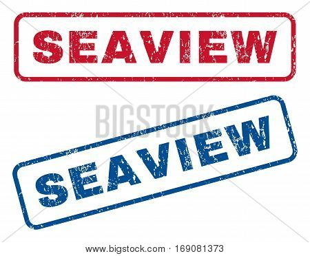 Seaview text rubber seal stamp watermarks. Vector style is blue and red ink caption inside rounded rectangular shape. Grunge design and unclean texture. Blue and red emblems.