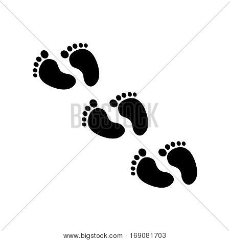 Foot print icon. Hogh quality silhuette sign of human traces for web deasign or mobile app. Black foot print on white background