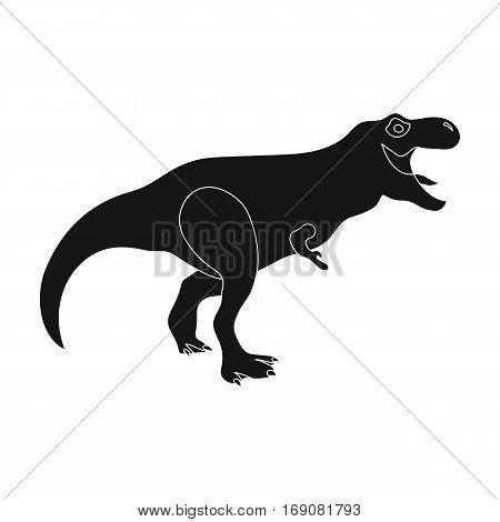 Dinosaur Tyrannosaurus icon in black design isolated on white background. Dinosaurs and prehistoric symbol stock vector illustration.