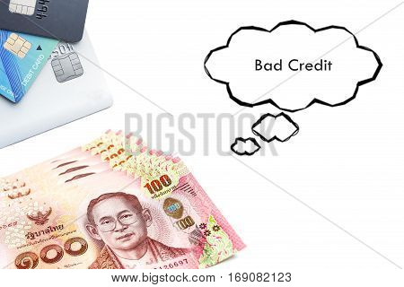 Terms on credit card and debit card Bad Credit text