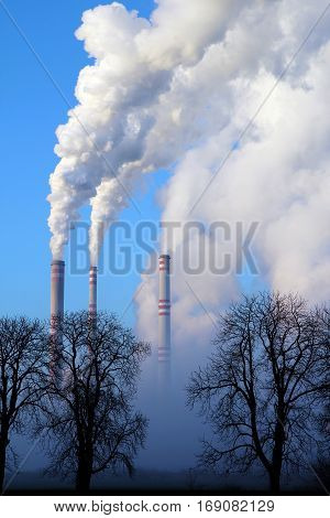misty day and steaming coal power plant