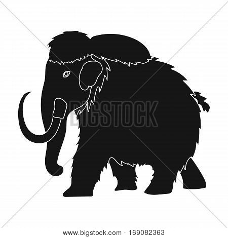 Mammoth icon in black design isolated on white background. Dinosaurs and prehistoric symbol stock vector illustration.