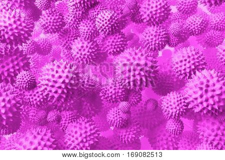 Detailed 3d medical illustration of viruses H1N1. May be used as Swine Flu or microorganism cells under microscope. Infection and microbe. Microbiology, popular scientific background. High Quality