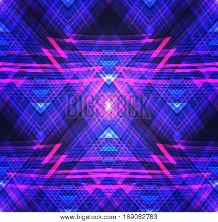 Neon Tribal seamless texture. Vector pattern with neon triangles and lines. Background for your creativity