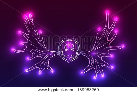Contour neon illustration of moose antlers with sparks. Vector element for your design