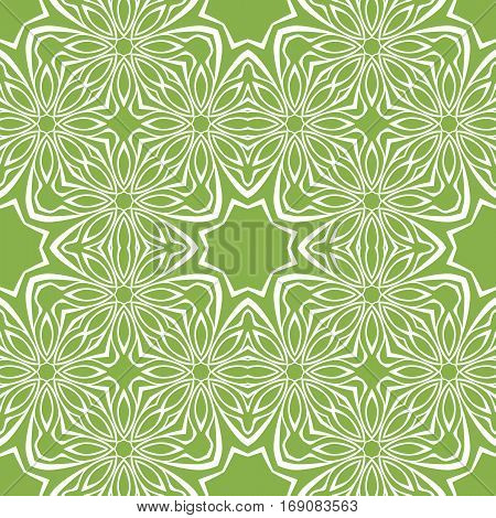 Seamless pattern with rhythmic fractal ornament in trendy green coloring. Retro Wallpaper. Vintage background.