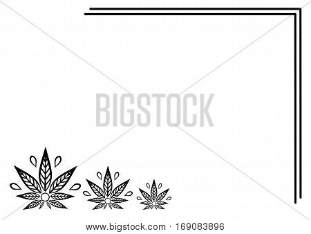 Rectangular frame of cannabis. Border of stylized hemp leaf to create promotional products logos decoration items.