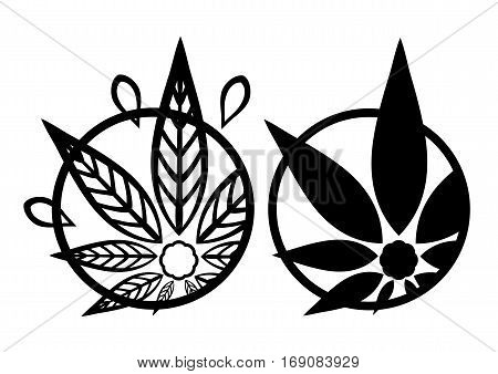 Cannabis black silhouette logo. Hemp asymmetrical icons. Sign T-shirts for design creating corporate identity and promotional products.