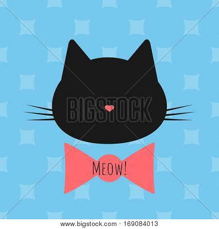 Silhouette of a cat's head bow text Meow! Seamless background. Blue pink black.