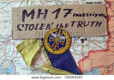 ILLUSTRATIVE EDITORIAL.Chevron of Ukrainian army. January 9,2017,Kiev, Ukraine