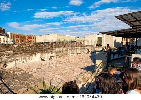 MEXICO CITY,MEXICO - DECEMBER 28,2016 : The ruins of the Templo Mayor, one of the main temples of the Aztecs in their capital of Tenochtitlan, which is now Mexico City