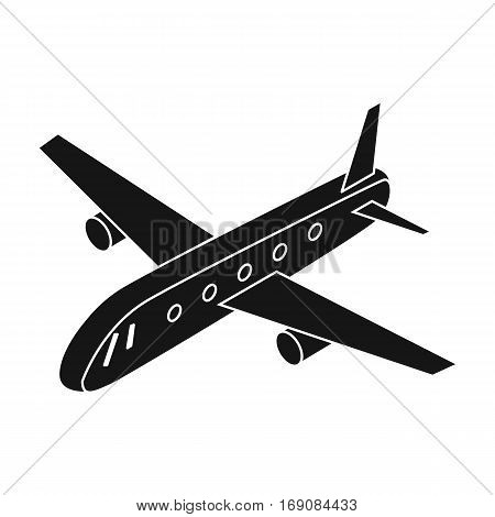Airplane icon in black design isolated on white background. Transportation symbol stock vector illustration.