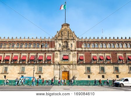 MEXICO CITY,MEXICO - DECEMBER 23,2016 : The National Palace next to the Zocalo in Mexico City