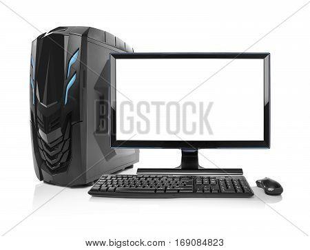 Modern desktop PC. Desktop computer isolated on a white background.