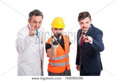 Doctor, Engineer And Businessman Keeping Eyes On You