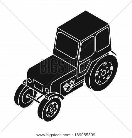 Tractor icon in black design isolated on white background. Transportation symbol stock vector illustration.