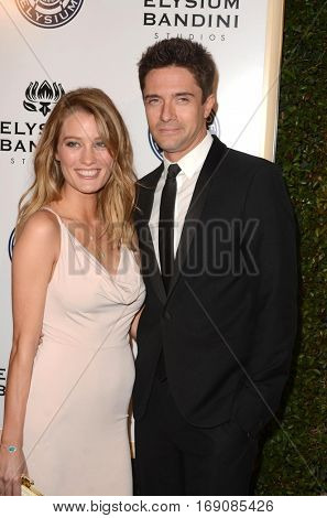 LOS ANGELES - JAN 7:  Ashley Hinshaw, Topher Grace at the Art of Elysium 10th Annual Black Tie Heaven Gala at Red Studios on January 7, 2017 in Los Angeles, CA